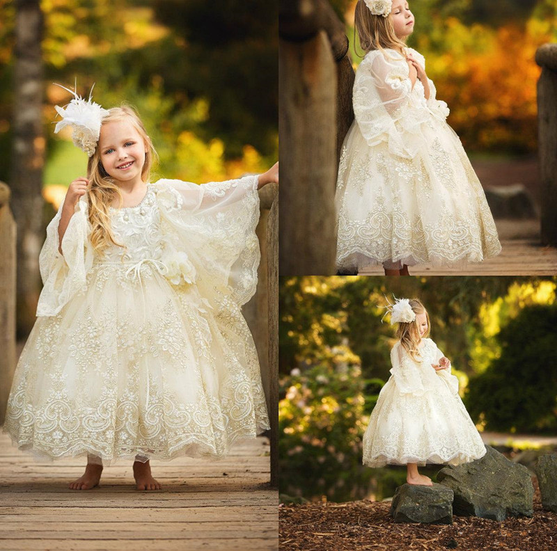New Coming Tulle Lace   Flower     Girl     Dress   with Appliques Belt Jewel Neck Crystals Long Sleeves Custom Made For Princess Vestidos