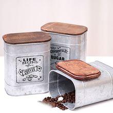 Винтажная металлическая квадратная жестяная коробка для хранения конфет с деревянной крышкой банки кофе, чай, сахар приправа чехол для ювелирных изделий