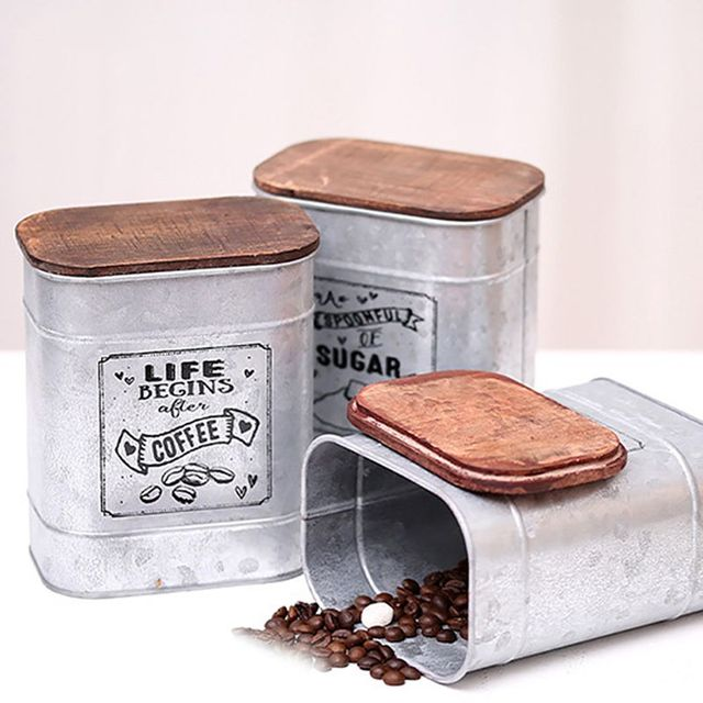 Vintage Metal Square Candy Trinket Tin Storage Box with Wooden Cover Cans Coffee Tea sugar Seasoning Jewelry Case 1