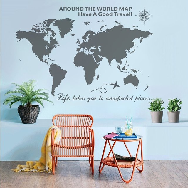 Large world map wall decal with compass global travel quotes wall large world map wall decal with compass global travel quotes wall decal vinyl sticker for home gumiabroncs Images