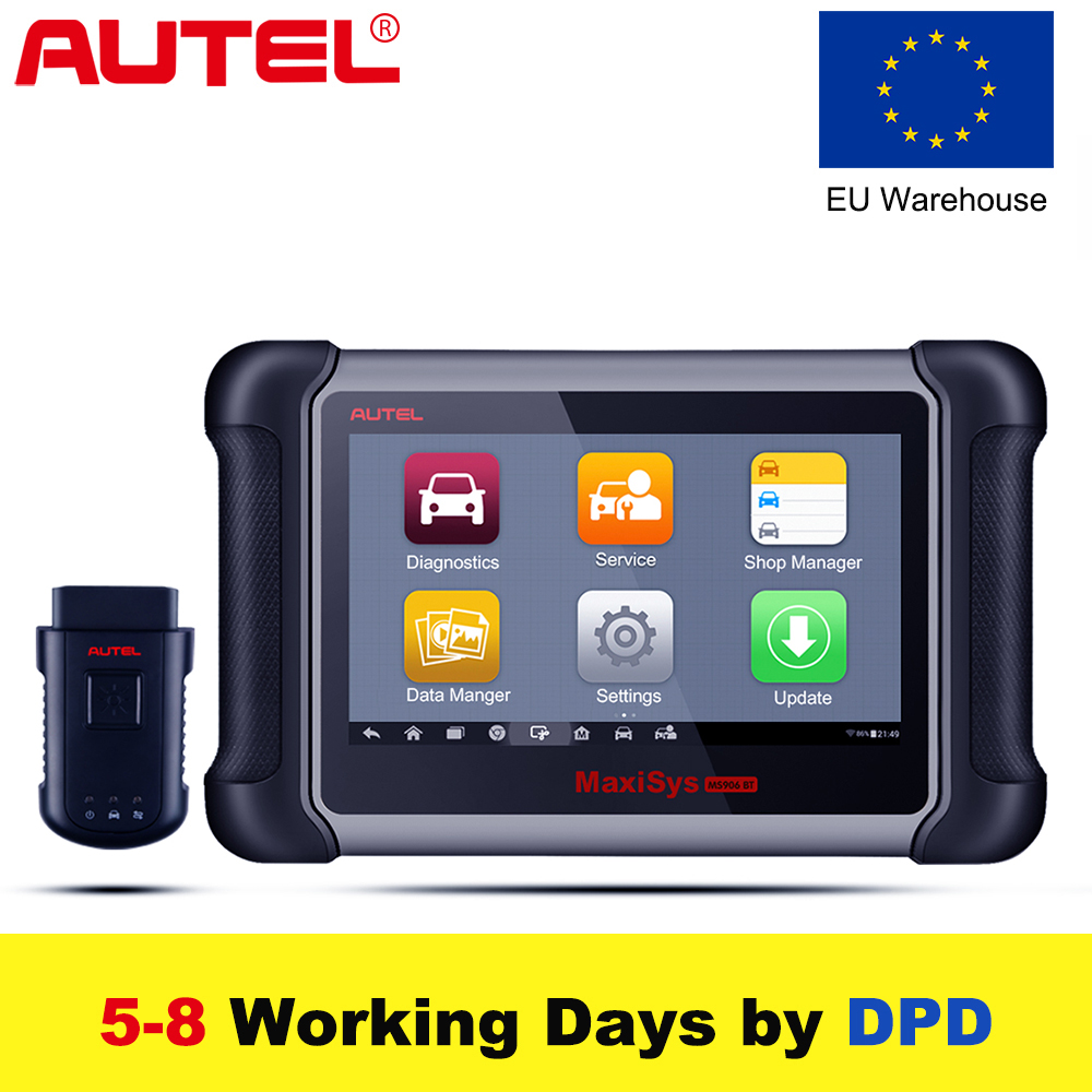 EU Stock,2018 Autel Maxisys MS906BT Wireless Car Diagnostic Tool OBD2 Scanner Key Coding immobiliser Better to MK808 ,DS808