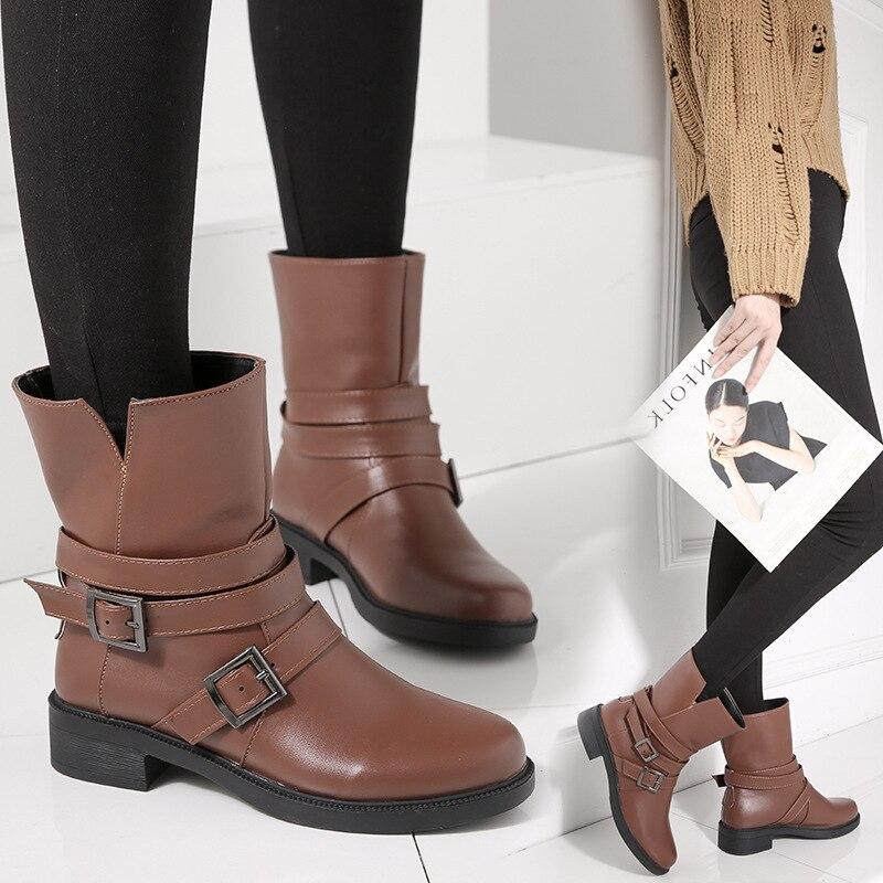 Con Otoño Gruesas Cinturón Dijigirls E Hebilla Nuevo Negro Invierno Mujeres  Martin Botas Zapatos Cuero Nuevas marrón De 2018 PqE7B 14f1bed24f58