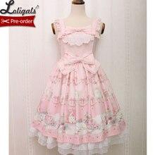 Милое Платье в стиле Лолиты без рукавов с принтом котенка и драгоценности, платье миди для женщин