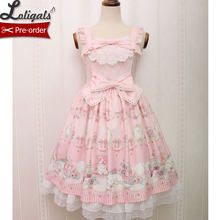 Sweet Sleeveless Lolita Dress Kitten and Jewel Printed Midi Dress for Women(China)