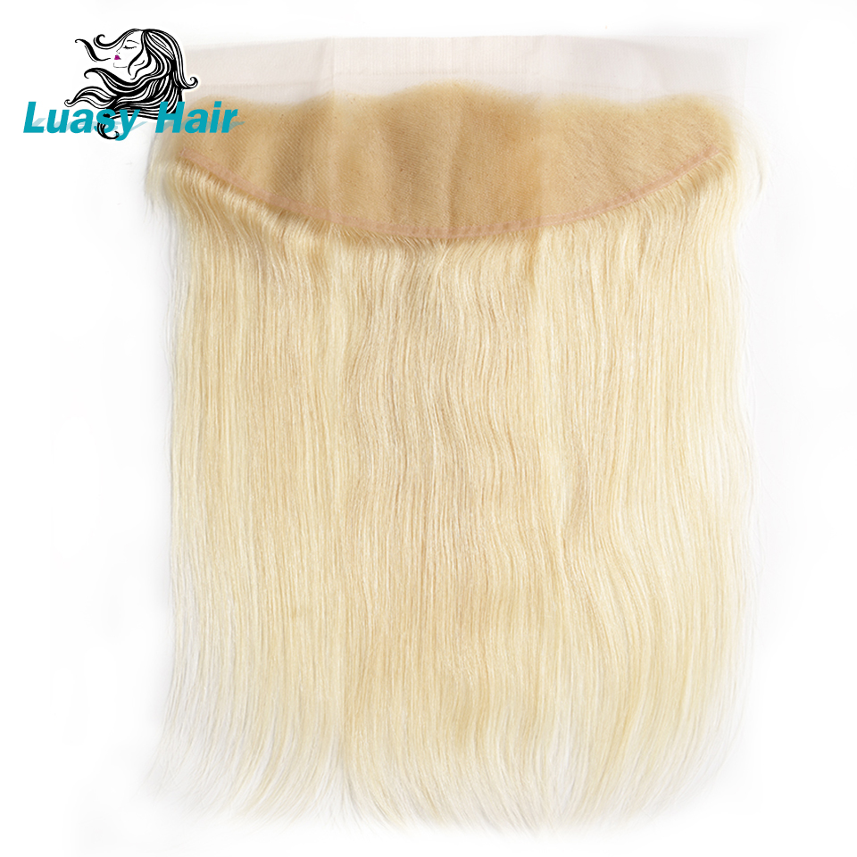 Luasy Peruvian Straight Human Hair 613 Blonde Lace Frontal Closure 13x4 Ear to Ear Swiss Transparent