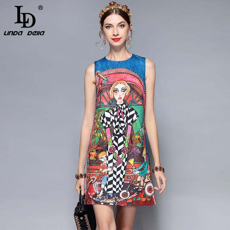 LD LINDA DELLA New Fashion Runway Designer Summer Dress Women s Sleeveless Vintage Cartoon Printed Crystal
