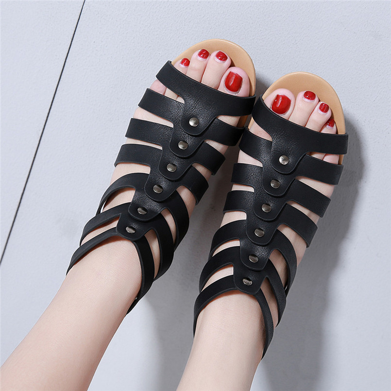 Summer Women's Fashion Casual Roma Solid Buckle Platform Low Heel Shoes Wedges Sandals Luxury Shoes Women Designers #A