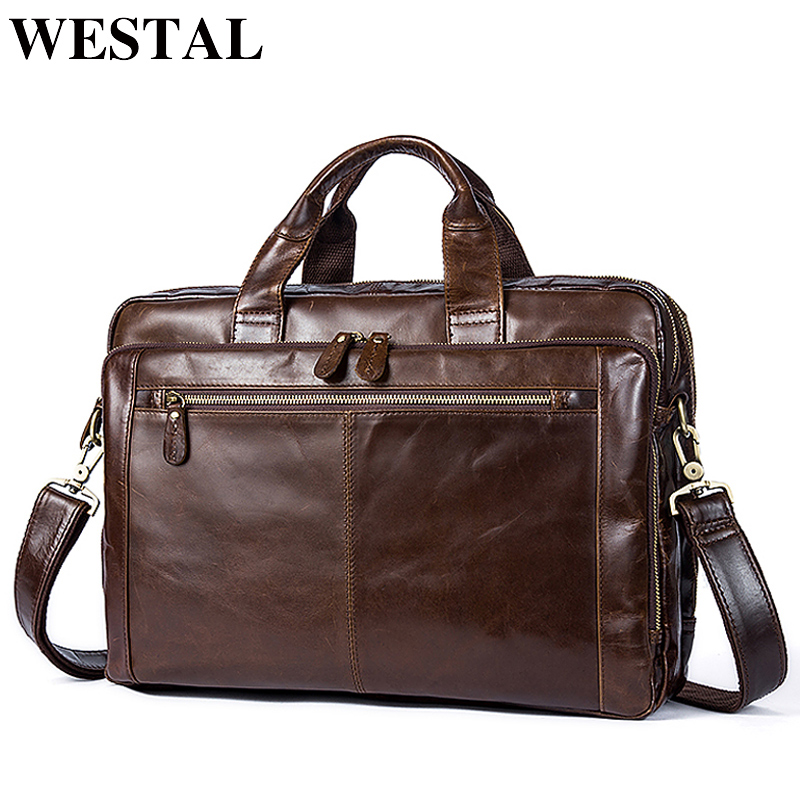 WESTAL Men's Briefcase Male Genuine Leather men bags Messenger Bag Men's Shoulder Bags Leather Laptop Bag men for document 9207