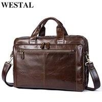 WESTAL Men Leather Briefcase Laptop Bag Male Genuine Leather Bag Men Briefcase Handbags Multifunction Men S