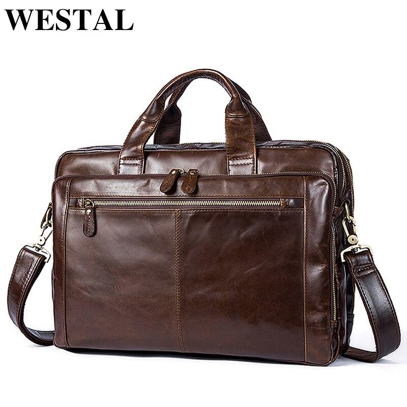 WESTAL męska teczki prawdziwa skóra dla mężczyzn torby Messenger torby męskie torba skórzana torba na laptopa torba dla mężczyzn komputera/torby na dokumenty 9207 w Teczki od Bagaże i torby na  Grupa 1