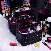 2019 Fashion Multilayer Women Makeup Bag Travel Cosmetic Trunk Case Pu Professional Portable Multifunctional large Make Up Box