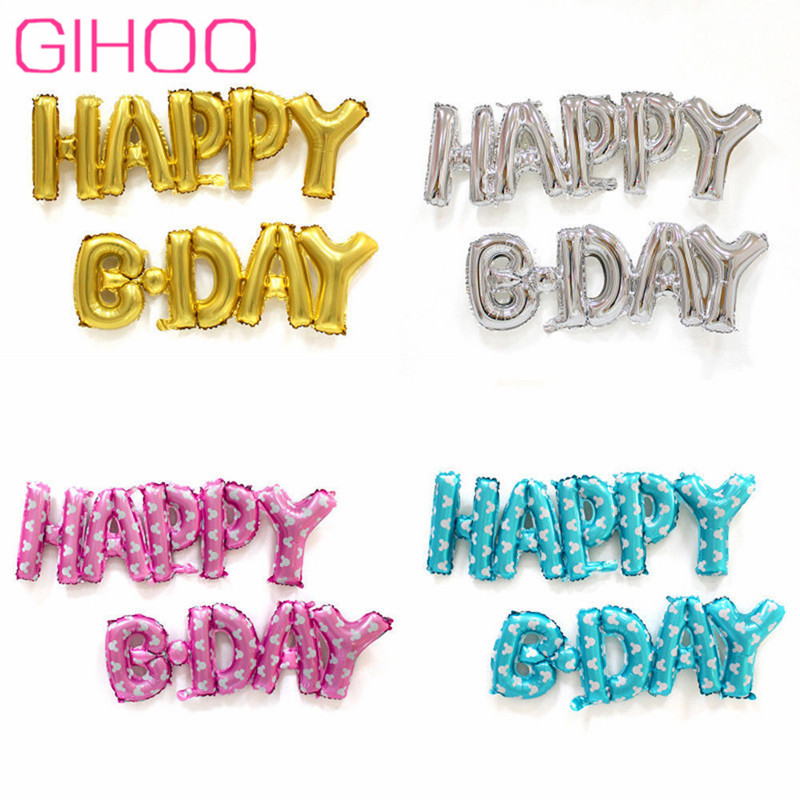 50Set New Siamese Happy B Day Gold Silver Pink Happy Birthday Foil Balloons Birthday Party Wedding