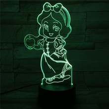 Usb 3d Led Night Light 7 Color Changing Lighting Lamp Girls Child Kids Baby Gifts Table Lamp Bedside Princess Snow White Figure fairy tale mermaid princess 3d lamp 7 color led night lamp for kids touch remote usb table lamp baby sleeping night light