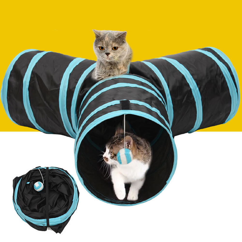 Foldable 3 Holes Pet Cat Tunnel Toys Indoor Outdoor Pet Cats Training Toy Kitten Rabbit Funny Play Tunnel House Toys Dropshiping