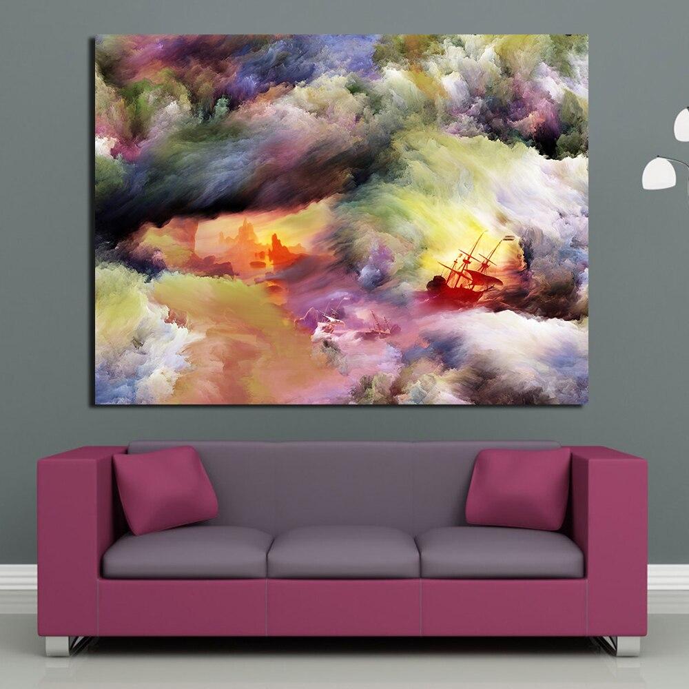 Jqhyart pintura mágica tinta colores buques tormenta Wall imágenes ...