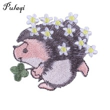 Pulaqi Cute Hedgehog Eco-friendly Animal Iron-on Patches Embroidered Sewing Applique For Clothes Apparel DIY Garment Badges H