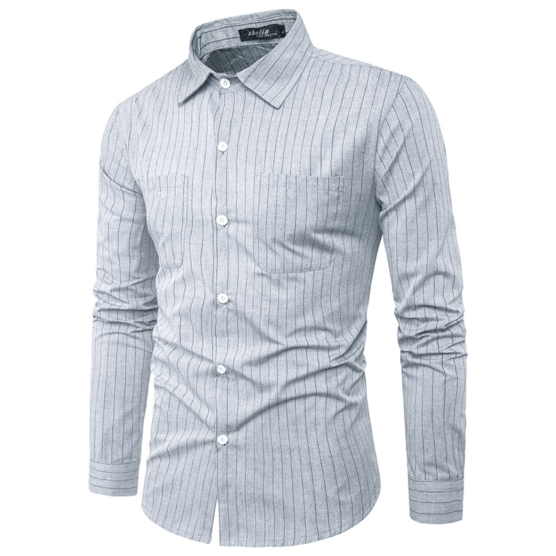 2017 Autumn New Men Casual Shirt Long Sleeve Striped Fashion camisa masculina High Quality Men social Shirt