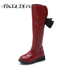Children Winter Shoes Girls knee high Boots Black Martin Boots Kid Fashion Princess Plush High Boots Children Snow Leather boots
