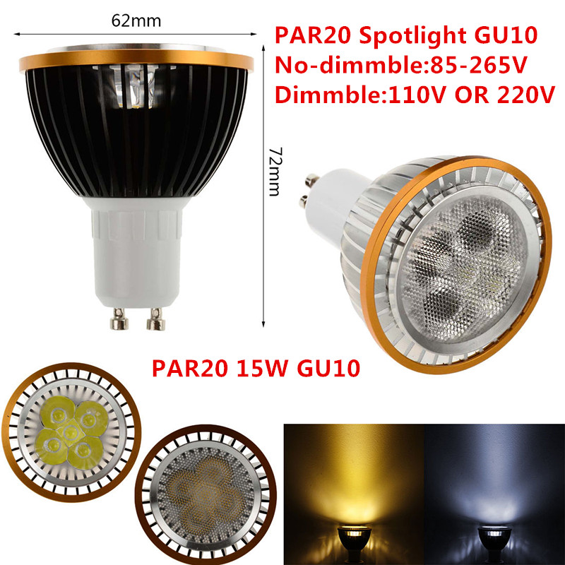1pcs LED PAR20 Bulbs GU10 15W 5*3W Warm White/Cold White/Pure White 110V 220V Dimmable LED PAR20  Spotlights Lamps LIGHTING