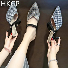HKCP New slipper women wear fashion thin heel sandals outside summer baotou half high Korean version C111