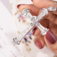 New 925 Silver Exquisite Bible Jesus Cross Pendant Necklace for women men Crucifix Charm Simulated Platinum Diamond Jewelry N030
