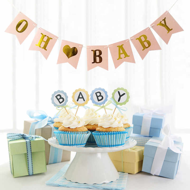 Chicinlife 10Pcs Gold Oh Baby Cupcake Topper Baby First Birthday Baby Shower Party Favors ของขวัญเพศ Reveal Decor อุปกรณ์