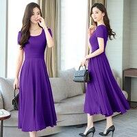 2018 summer women dresses maxi short sleeve women chiffon a line dress plus size elegant robe purple clothing longmaxidress