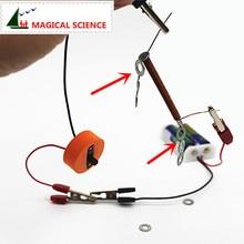 Забавный физический эксперимент домашний Электромагнит DIY материалы, ток магнитный эффект, домашняя школа образовательный комплект
