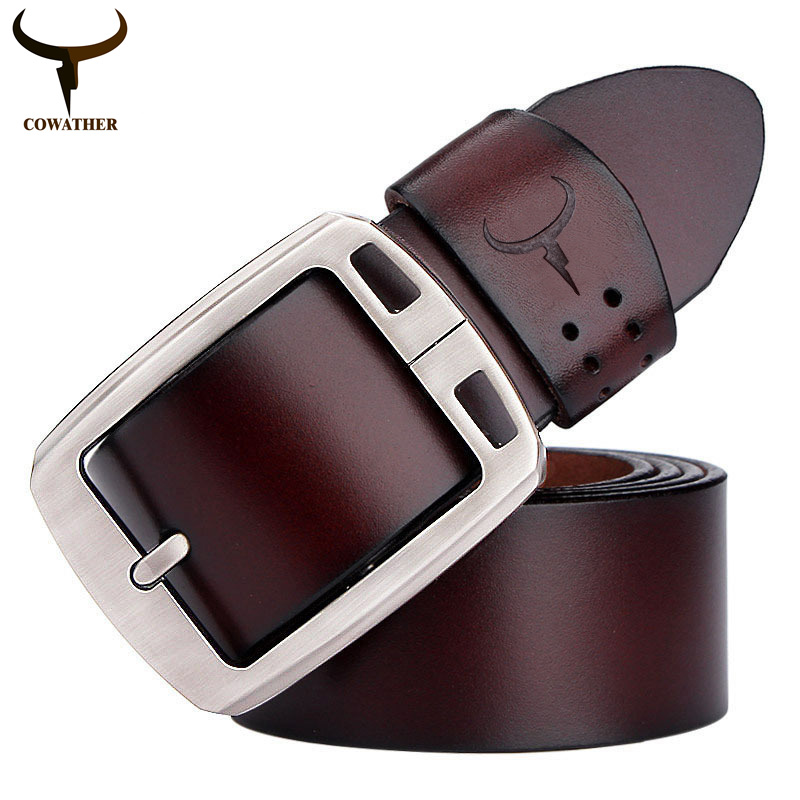 COWATHER cowhide genuine leather belts for men brand Strap male pin buckle fancy vintage jeans cintos dropshipping freeshipping
