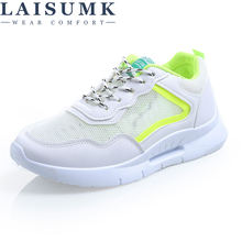 LAISUMK Spring/Summer Women Casual Flats Shoes Brand Platform Breathable Comfotable Walking Loop Woman Sneaker Footwear