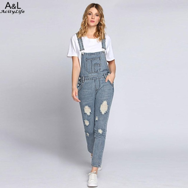 f235f6d25d4 FANALA Ripped Bleach Wash Jeans Women Jumpsuits Slim Moveable Strap Rompers  Casual Pocket Denim Overalls Fashion Jean Jumpsuit