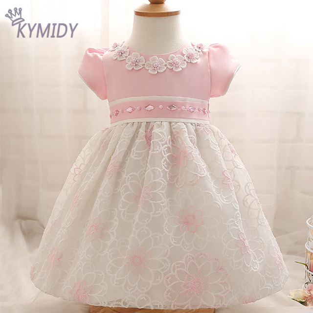 2017 Sweet Baby Girl Dress Crystal Flower Decorated Kids Dresses for Girls Spring Children Brand Clothing with Puff Sleeve