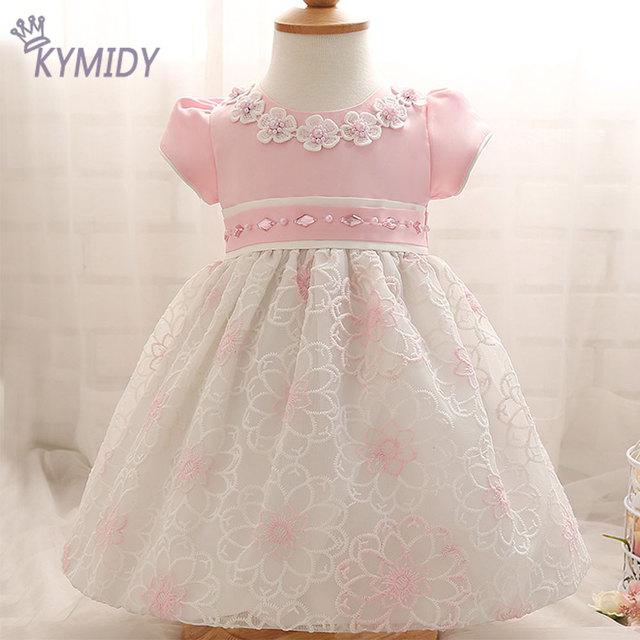 2017 sweet baby girl dress flor de cristal decorados crianças vestidos para meninas primavera crianças marca de roupas com manga sopro