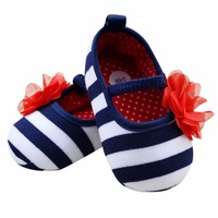 Hot Baby Stripe Flower Crib Shoes Soft Sole Kid Girls Baby Shoes Prewalker First Walkers