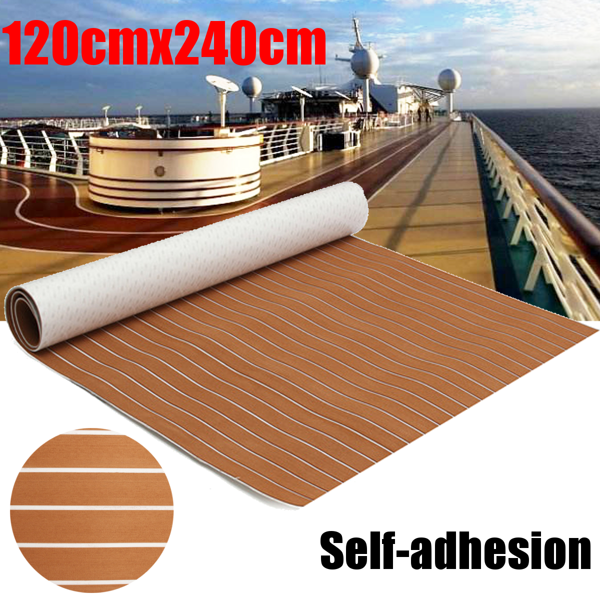 120x240cm Brown and White EVA Foam Faux Teak Sheet Boat Yacht Synthetic Teak Decking teak house комод maori