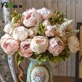 Umiwe 13 головок Европейский Стиль Поддельные Искусственный Пион Шелковый декоративная сторона цветы для дома отель свадебные офисные садовый декор - фото