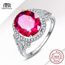 Charming 6.5CT Laboratory Created Pink & White CZ 100% 925 Sterling Silver Anniversary Ring Size 6 7 8 9 Free Jewlery Box