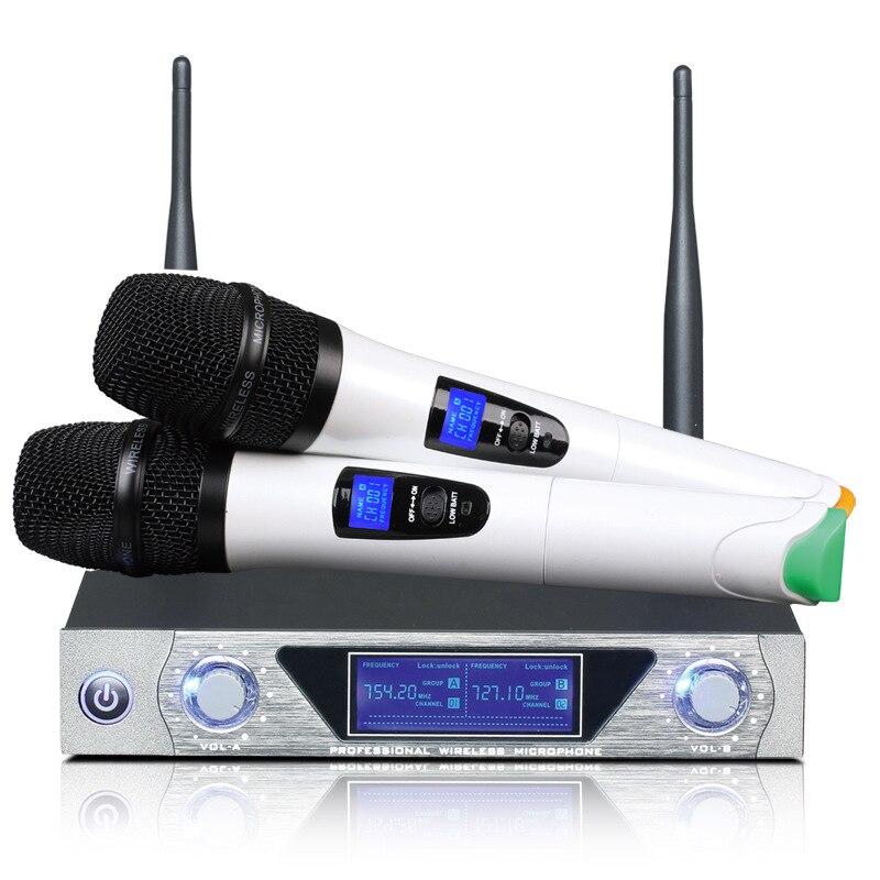 Microphone à main UHF fréquences dynamique 2 canaux Microphone sans fil pour système karaoké avec écran LCD