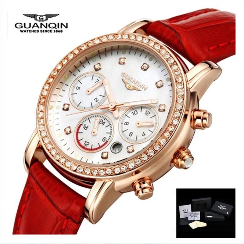 цены Ladies Watches Brand Luxury GUANQIN Women Watch Quartz Leather Fashion Casual Waterproof Female Wristwatches Montre Femme