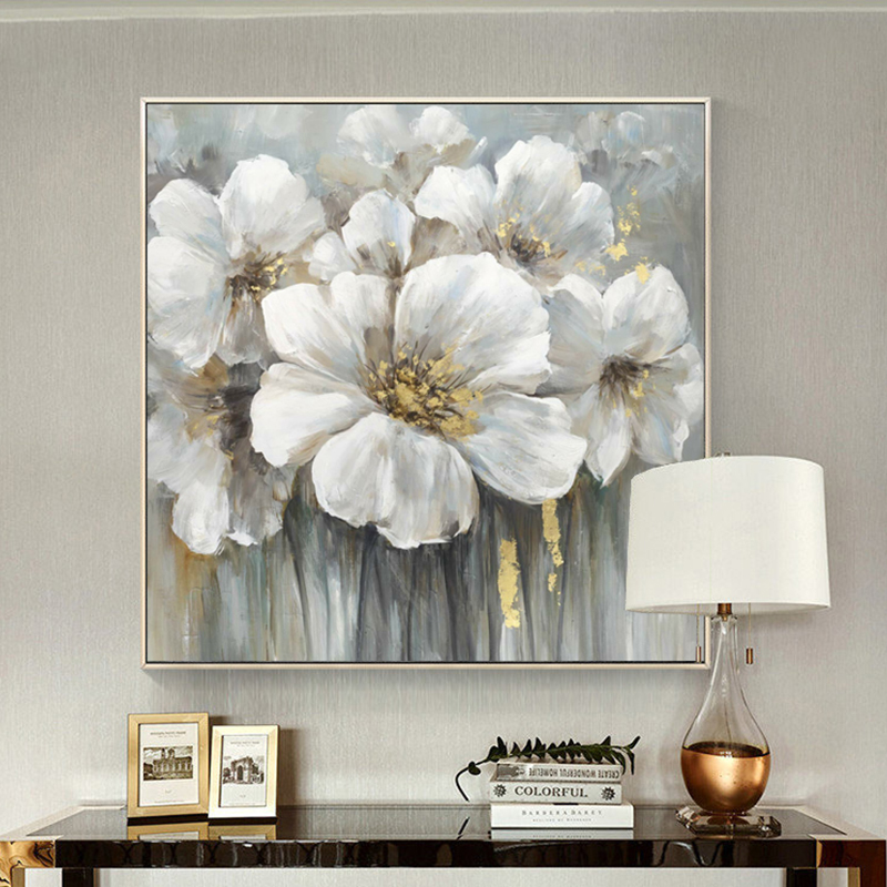 100 Hand Painted Abstract White Flowers Painting On Canvas Wall Art Wall Adornment Pictures Painting For Live Room Home Decor in Painting Calligraphy from Home Garden