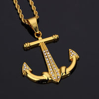 Fashion Classical Vintage Anchor Pendant Necklace Gold Plated CZ Stone Crystal ANCHOR Cool Gift Men Women