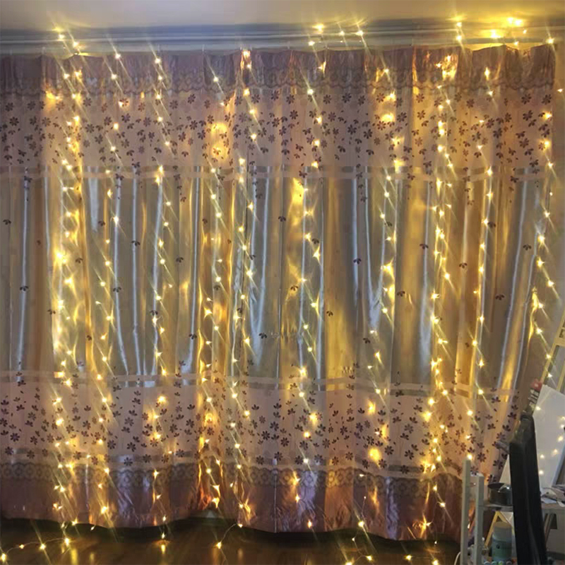 4M x 3M LED Curtain Lights Garland Christmas Decorations Wedding Fairy Lights Party New Year Home Holiday Lighting Outdoor