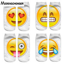 New Fashion Funny Ankle Breathable Cartoon Short Sock for Women Men Unisex Comfortable Emoji Printing Expression Harajuku Socks