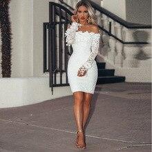 купить Elegant Sexy Hollow Out Floral White Lace Dresses Off Shoulder Strapless Sexy Dress Women Pencil Bodycon Party Dress Vestidos по цене 1242.7 рублей