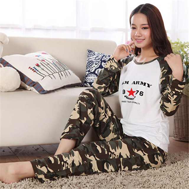 New Novelty Camouflage Letter Women Sleepwear Military Uniform Pajama Sets  Casual Home Leisure Night Wear 100% Cotton Plus Size 309229729
