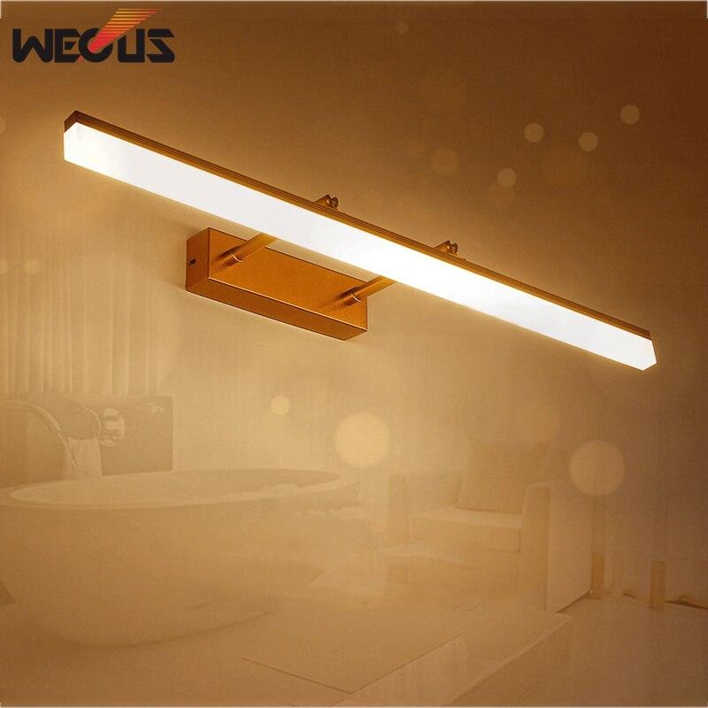 New golden/chrome led mirror front light adjustable head bathroom ...
