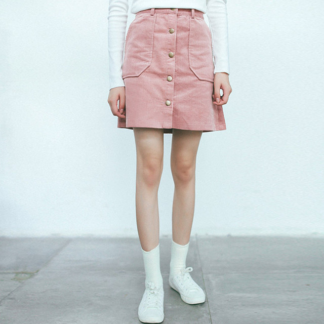 Spring Autumn Vintage Short Corduroy Skirt Mori Girl Casual A-line Single-greasted High Waist Skirts with pockets