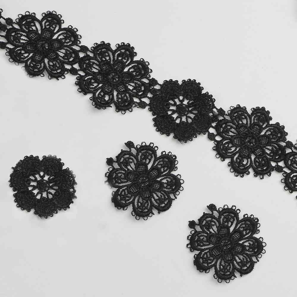 Tecido de renda novo 5.5cm flor preto branco diy artesanato costura suprimentos decoração acessórios para vestuário flor guarnição do laço