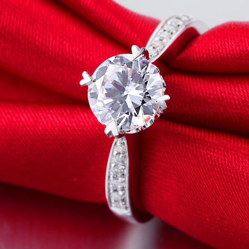 Argent pur 1.5 Carat haute teneur en carbone Diamant synthétique anniversaire mariage argent S925 bagues (JSA)