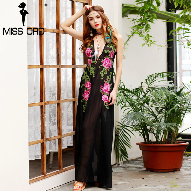 Missord 2017 Sexy deep-V   sleeveless embroidery see through maxi dress